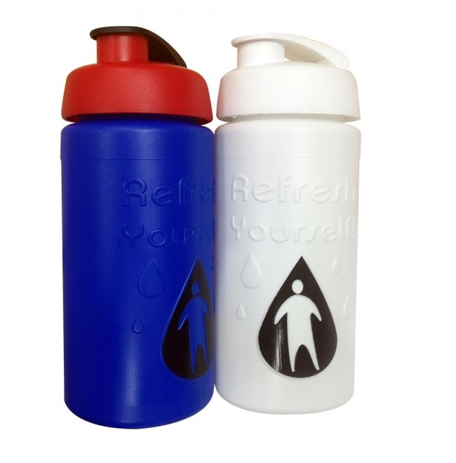 Baseline Plus Relief Moulded Bottle 500ml: Being properly hydrated helps concentration levels so your brand can keep their eye on the prize.  Comes in a range of standard colours and caps; comes with a screw cap that can be customised to a push/pull or valve style opening