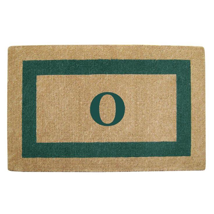 Single Picture Frame Green 30 in. x 48 in. Heavy Duty Coir Monogrammed O Door Mat, Green/Brush