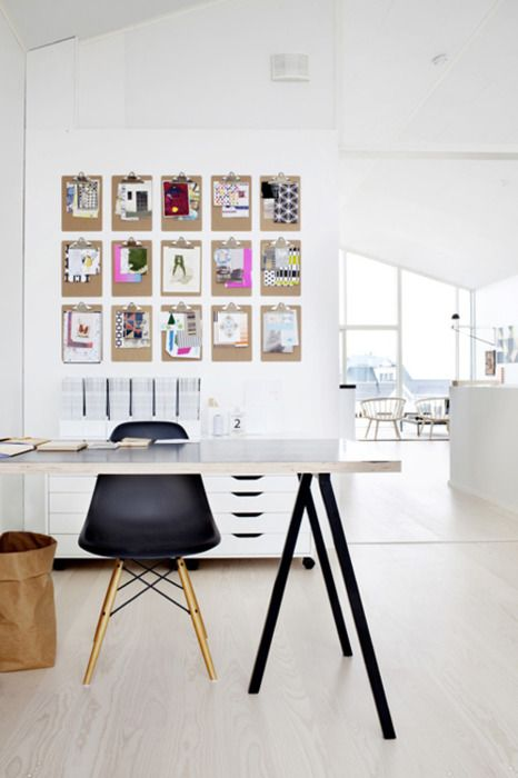 Eames dowel-base chair, sawhorse desk, white & bright, clipboard organization, #office