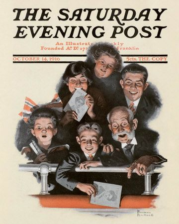 Norman Rockwell's People in a Theatre Balcony, October 14, 1916 Issue of The Saturday Evening Post