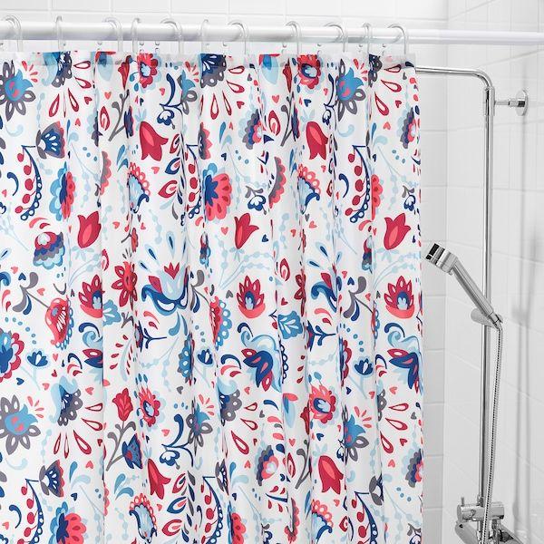 Kratten Shower Curtain White Multicolor 71x71 White Shower