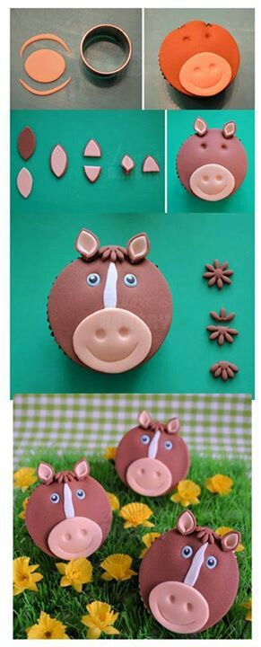 Horse cupcake step by step