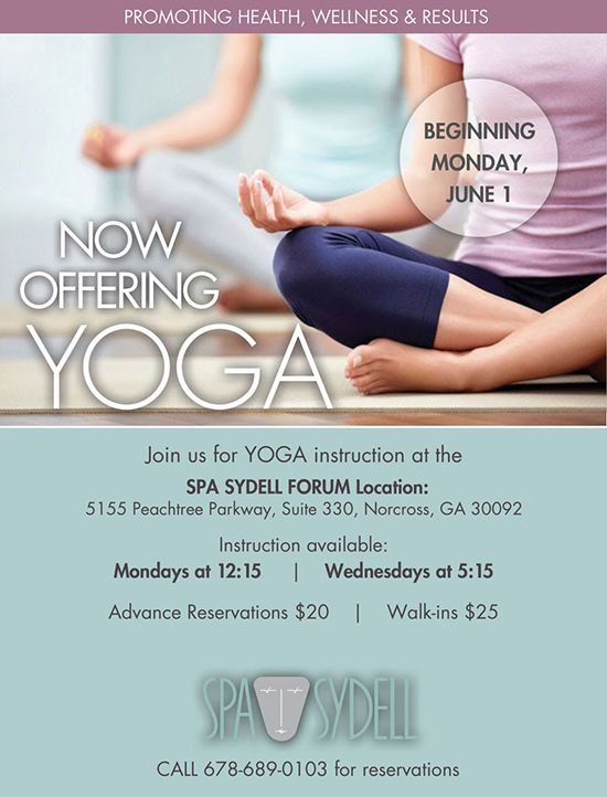 Spa Sydell now offering Yoga Instruction