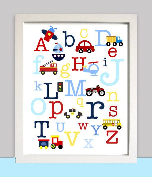 Looking to decorate your nursery or childs rooms wall? What a cute way to do so with this PRINTABLE wall art with car truck and ABC with all your favorite vehicles.    The printable file will be emailed to you within 24 hours of purchase, please note the frame is not included its just to show how cute it will look in a frame, and no waiting on shipping you print at home or at Kinkos etc!    How does it work? After you order you will get the file emailed to you and you can print on cardstock…