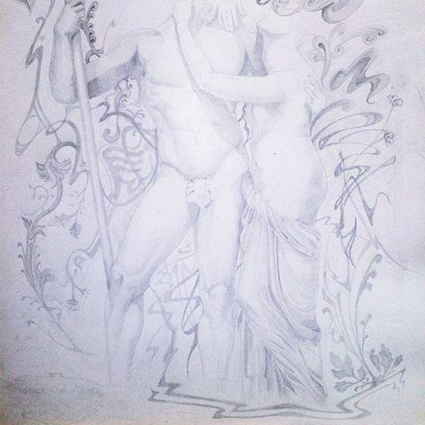 Venus and Mars Original Pencil Drawing by MagdalenaCharlotte