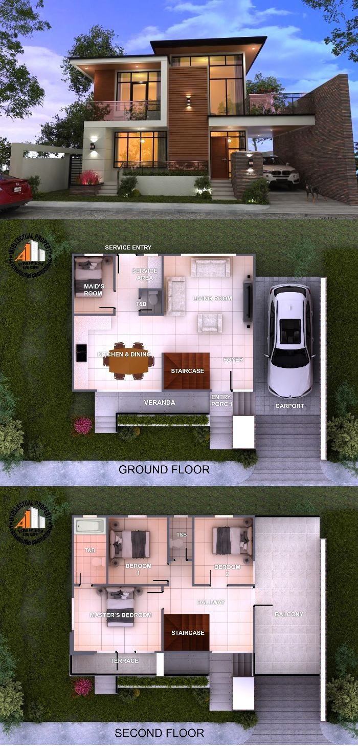 Spectacular Two Storey House Design With Impressive Interior 2 Storey House Design Narrow House Designs House Front Design