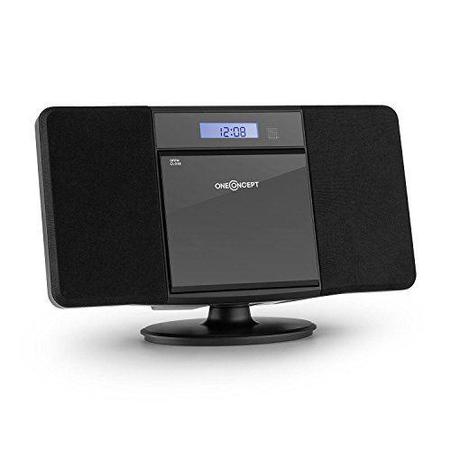 oneConcept V-13 BT Chaîne stéréo ultra-plate (Bluetooth, radio tuner AM/FM, lecteur CD-MP3, ports USB, entrée AUX, écran LCD, fonction…