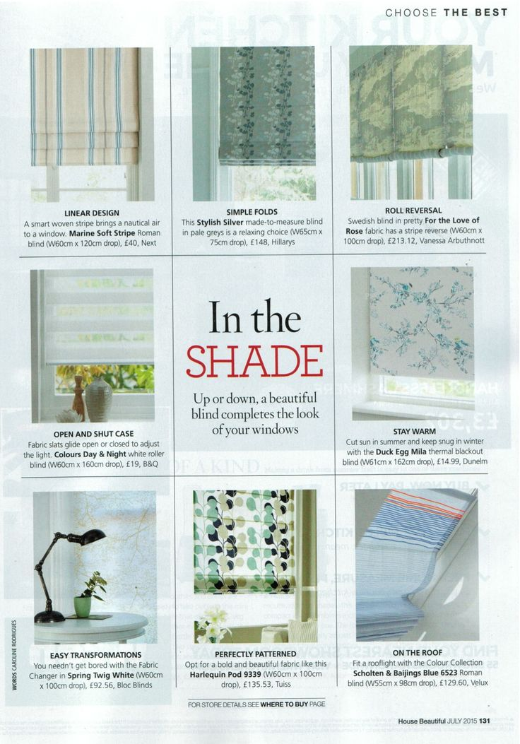 Bloc's Fabric Changer system featured in the July issue of House Beautiful. #windowtreatments #blinds