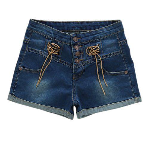 Womens High-waist Cuffed Shorts Jeans Denim Buttons Pants Asian Size 30 Deep Blue