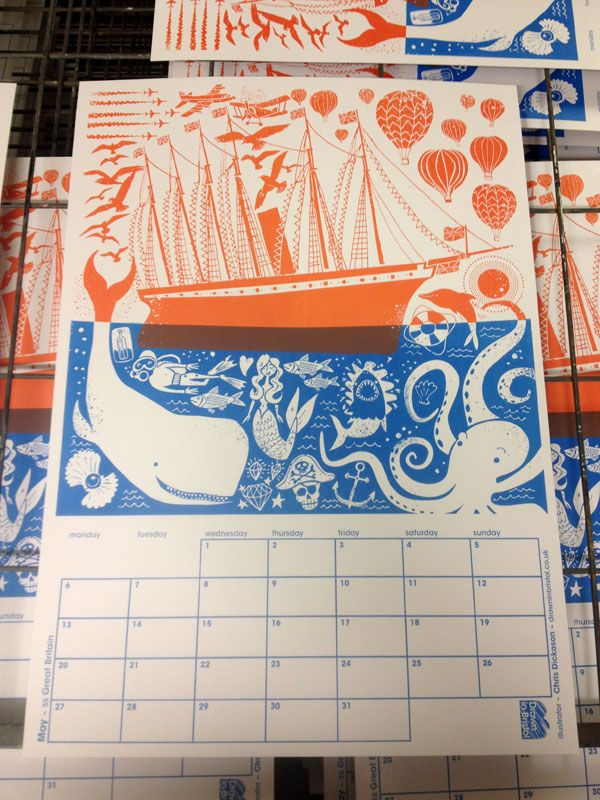 Chris Dickason ++ screenprinted calendar ++ Illustration Age