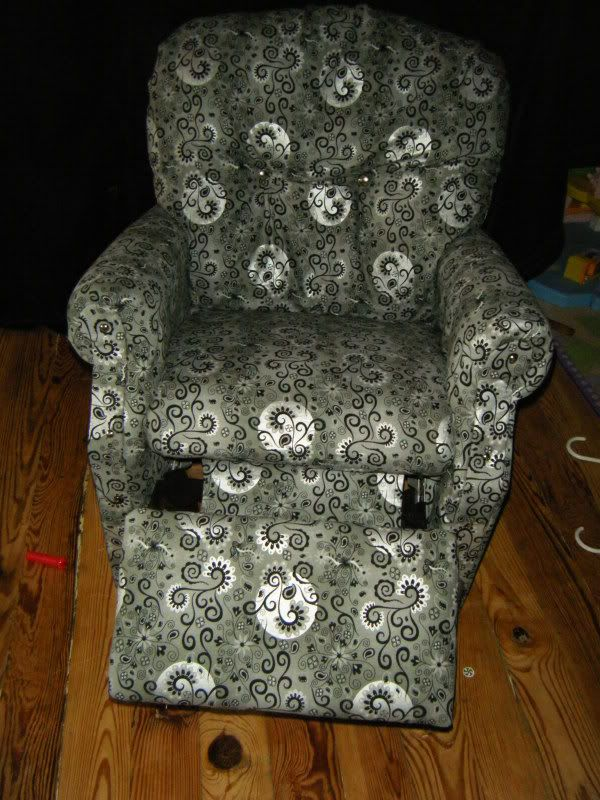 Kids reupholstered recliner chair - I'm gonna do this to my sons old chair!