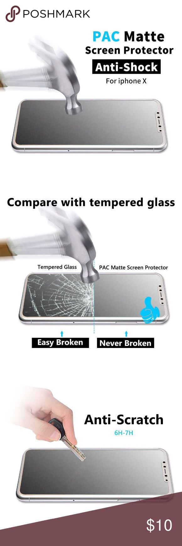 2Pcs For Apple iPhone X Screen Protector PAC Matte Screen Protector 2-PACK - iPhone X/10 Screen Protector Film-Ultra Clear Nano Matt Screen Protective Film Easy Install Anti-Glare Anti-Scratch Phone case friendly  Anti-finger print  Anti-Shock.  Thick 0.2mm. Bendable: 360  Silicon Glue and Automatic Adsorption.  Fastly Remove Bubbles  PAC Matte Screen Protector.  https://youtu.be/PG-PyTr5ppQ PAC MATTE Other