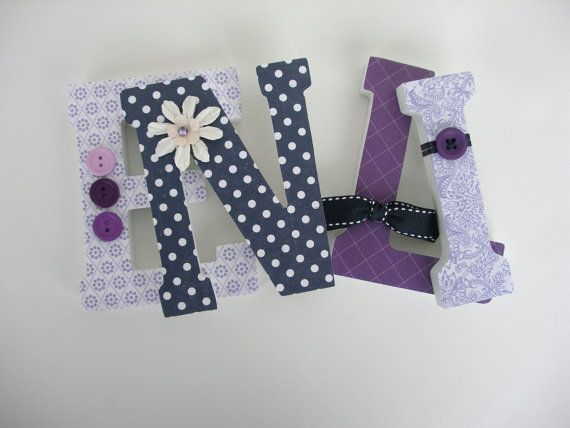 custom wood letter set purple lavender and navy blue hanging wall letters