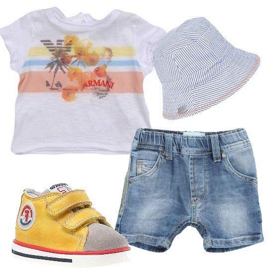 T-shirt+in+jersey+bianca+con+fantasia+a+stampa+Armani+Junior,+pantaloncini+di+jeans+Diesel,+scarpe+primi+passi+con+chiusura+con+velcro+e+cappello+Boss+in+tela+con+fantasia+a+righe.+Il+nostro+bimbo+è+pronto+per+partire+per+la+sua+prima+vacanza.