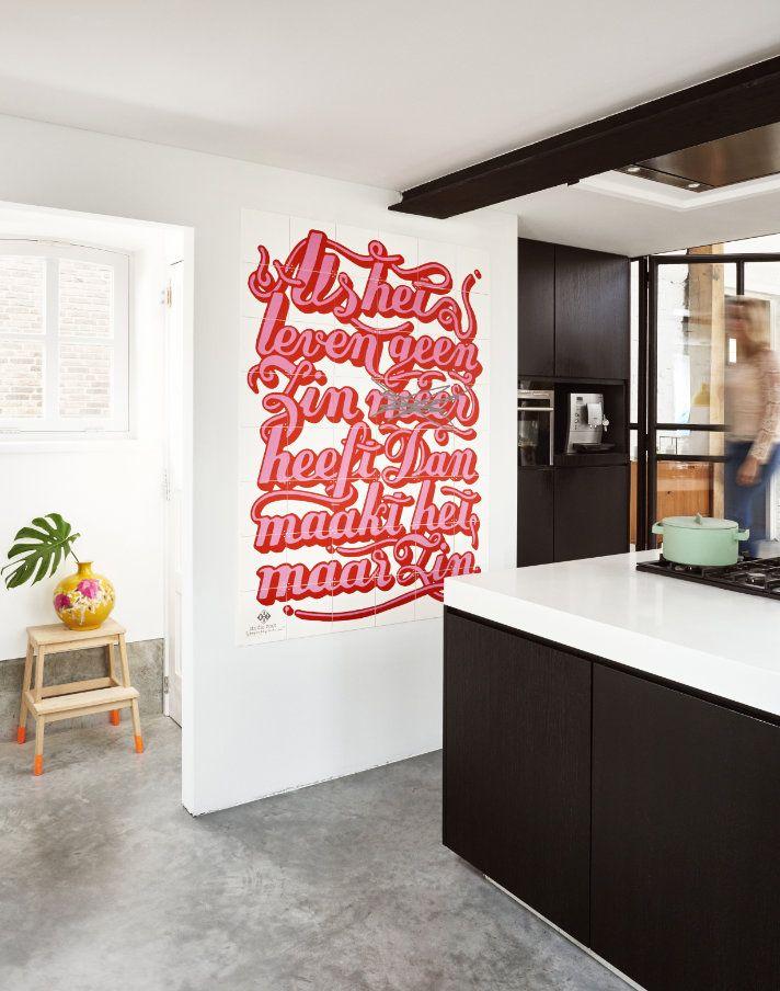 Zwarte Keuken Met Ixxi Aan De Muur Als Het Leven Shopinstijl Nl Doe Het Zelf Wanddecoraties Decoratieve Muren Keuken Kunst Aan De Muur