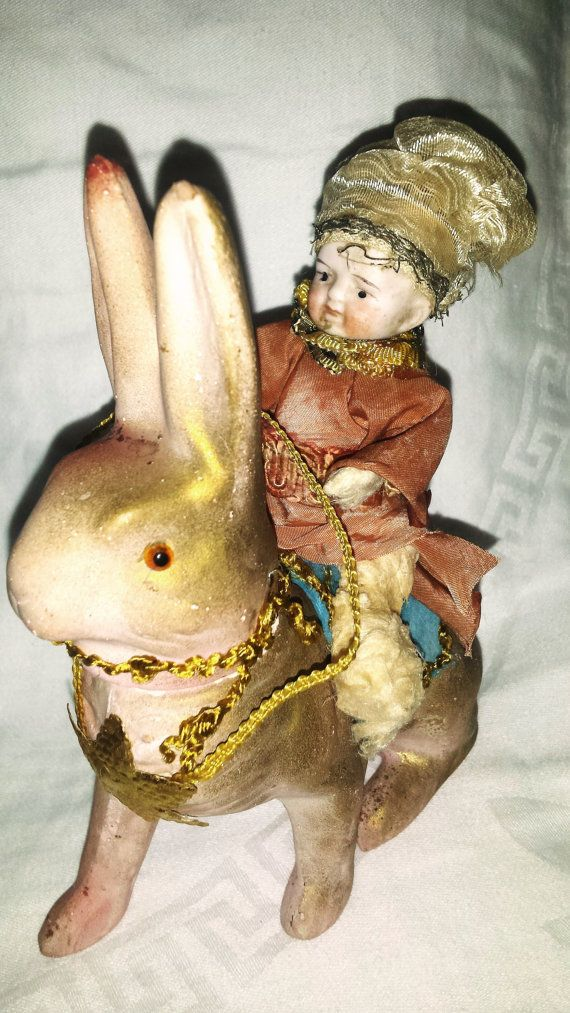 German Candy Container Rare 1910s German Bisque Head Rabbit Bunny Candy Container Easter Christmas I am so pleased to offer this wonderful candy container from one of my estate finds. This is part of an estate collection of Maggie who passed away 2 years ago. She had a huge collection of candy containers, old ornaments and decorations that she would decorate her huge Victorian house during different holidays just like her mother and grandmother did before her in the same house. This candy…