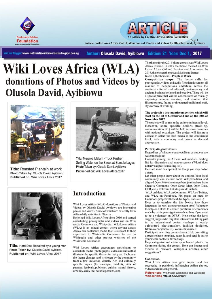 Wiki Loves Africa (WLA) donations of Photos and Videos by Olusola David, Aybiowu are interesting photos and videos. Some of which are basically from Africa daily activities in Nigeria. He joined Wiki Loves Africa since 2016 and started contributing photographs and videos use on Wikimedia Commons and Wikipedia.