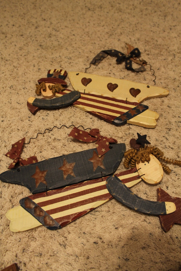 CLEARANCE Upcycled Americana Country Angels Wall Decor Set