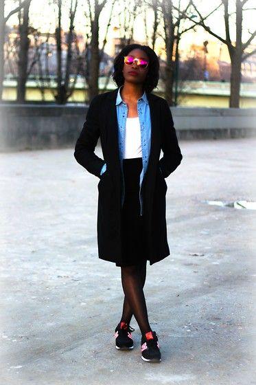 Get this look: http://lb.nu/look/7279986  More looks by LizandCoco: http://lb.nu/lizandcoco  Items in this look:  New Balance Sneakers, Laura Clément  Long Black Coat, H&M Denim Shirt Men, H&M White Cotton Top, Asos Black Pencil Skirt   #casual #street #newlook #hm #newbalance #lauraclement #blackcoat