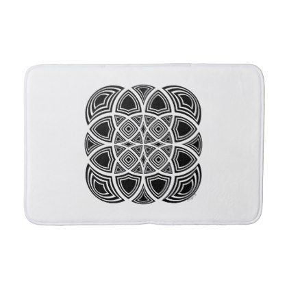 Black And White Geometric Fractal Design Bath Mat - individual customized designs custom gift ideas diy