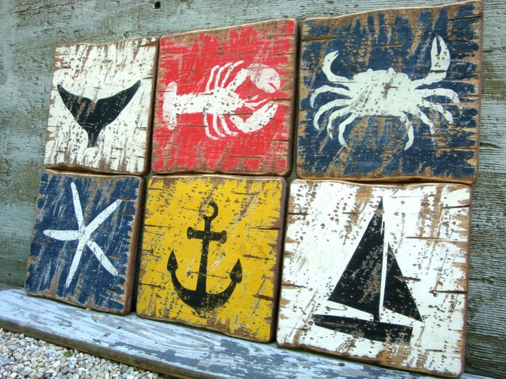 Rustic Distressed Crab, Lobster, Starfish, Whale, Anchor, Sailboat, Wood Nautical Beach Sign Set by TheUnpolishedBarn on Etsy