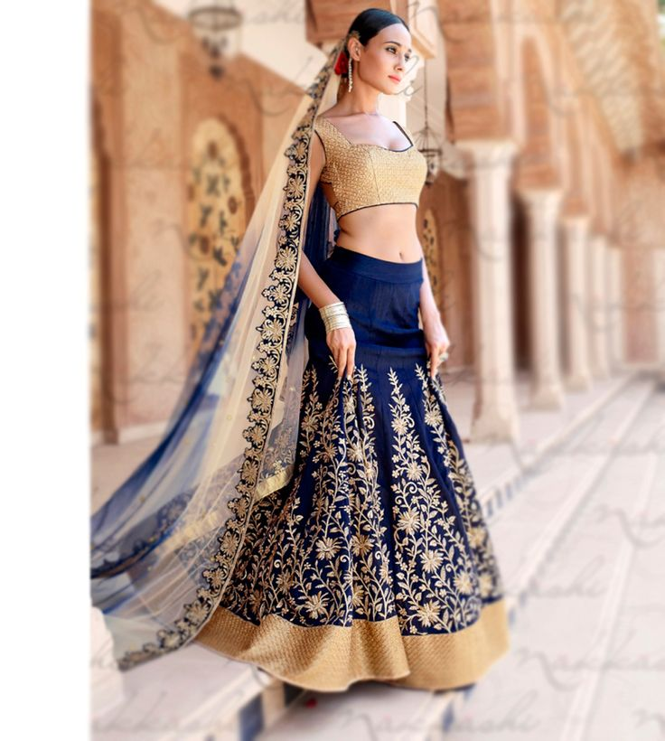 Blue Bhagalpuri Wedding Lehenga Choli 63016