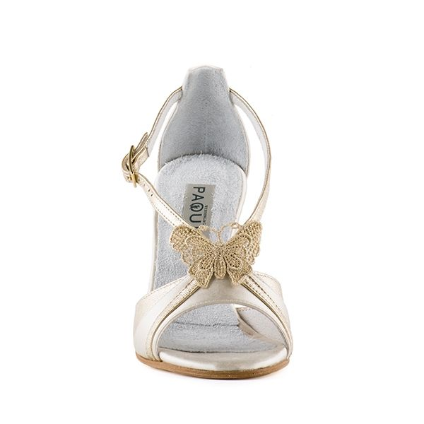 Cream and platinum sandal with butterfly