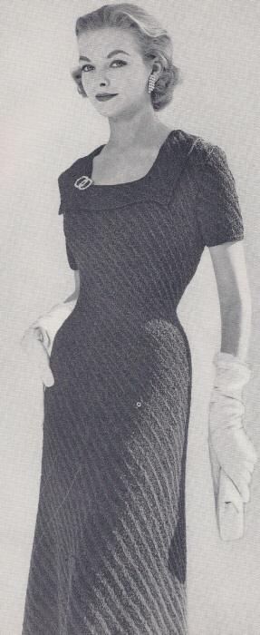 Vintage Square Neck Dress Knitting Pattern