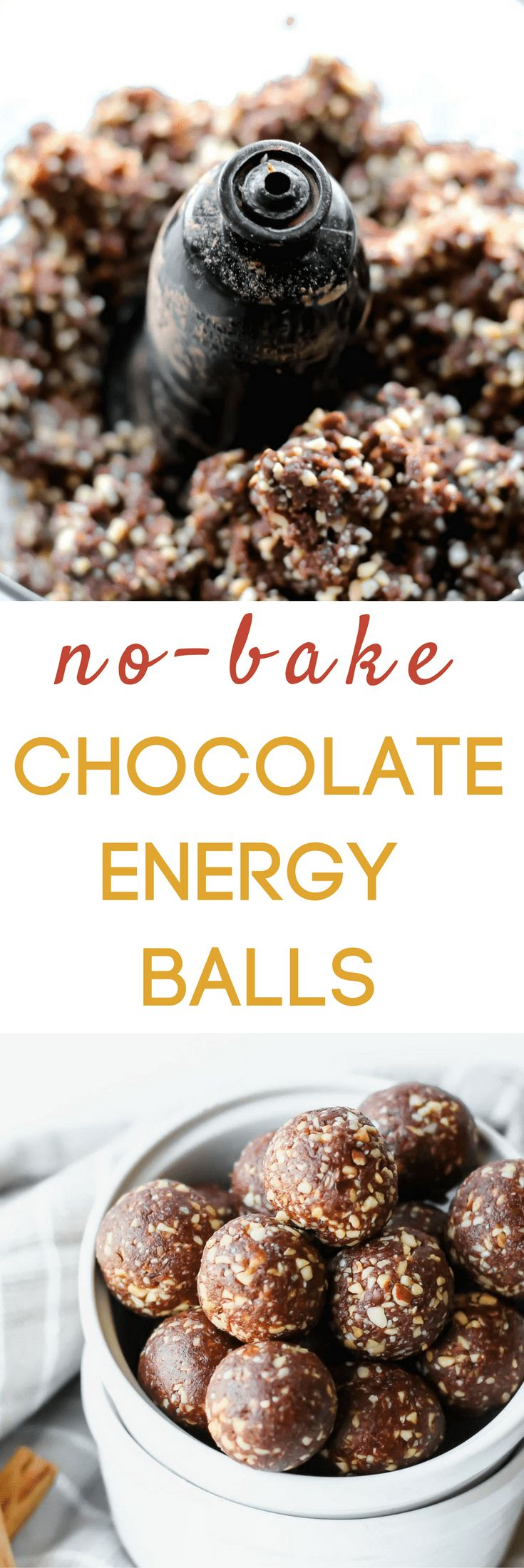 No-bake chocolate energy balls with dates, almonds, and cacao. These bites pack a punch with protein, healthy fats and energy for a busy week!