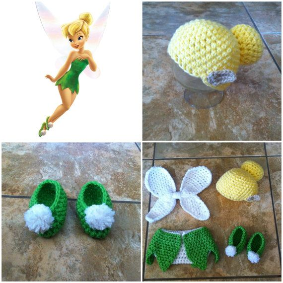 Crochet Disney's Tinkerbell Outfit (beanie/hat, diaper cover, fairy wings and booties) on Etsy, $35.00