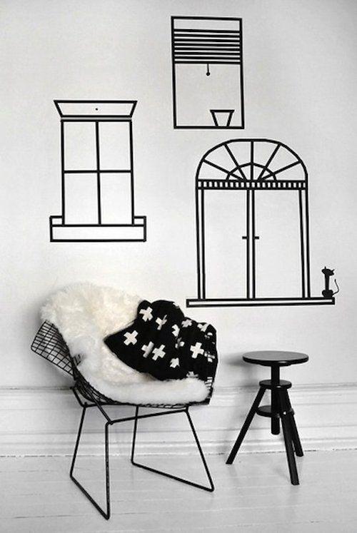 Washi Tape Wandgestaltung: Fenster!
