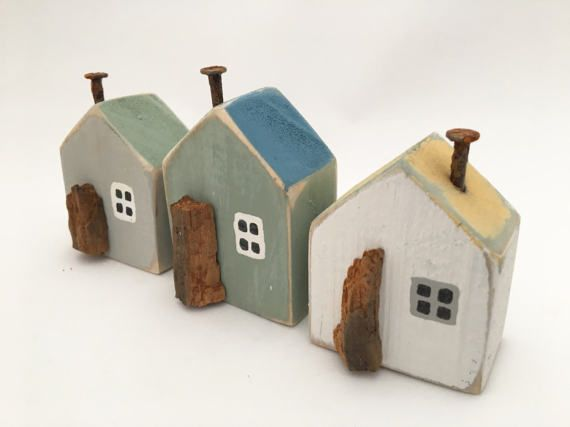 Three Little Wooden Houses Miniature Seaside Cottages Beach
