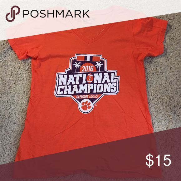 clemson 2016 national championship v-neck t-shirt NWOT bright orange. woman's v-neck tee. tag says extra large but fits like a medium. Tops Tees - Short Sleeve