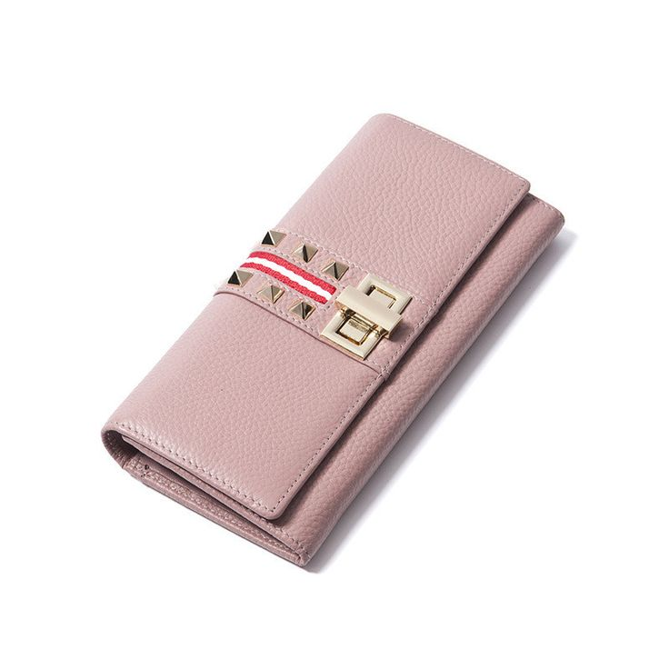 Ladies Fashion Rivets Pink Wallets Genuine Leather Evening Bag Purses Women Long Clutch Black Wallet Purse Pocket Zipper Poucht