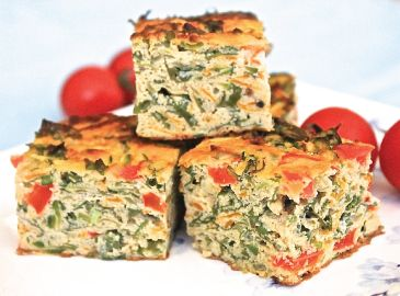 This savoury gluten free vegetable slice provides a great range of vitamins, minerals and antioxidants with its many colours of the rainbow. Being nut free too it is also a great lunchbox snack.