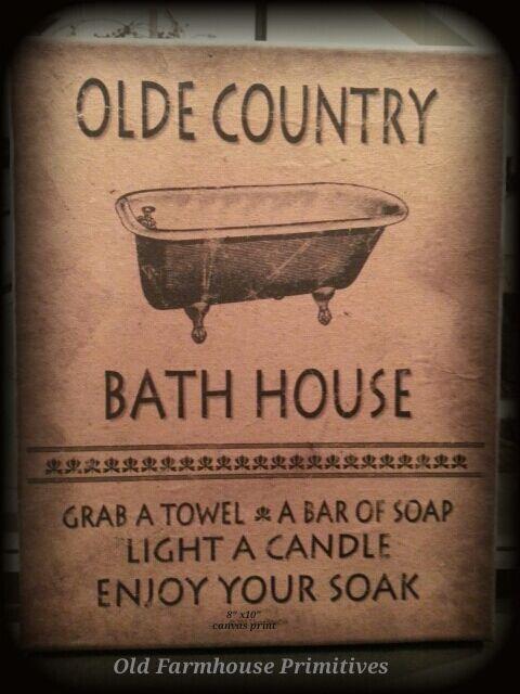 "Primitive Olde Country Bath House Canvas Print 8""x10"""