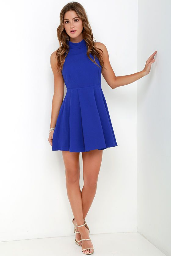 Back For More Royal Blue Skater Dress at Lulus.com!