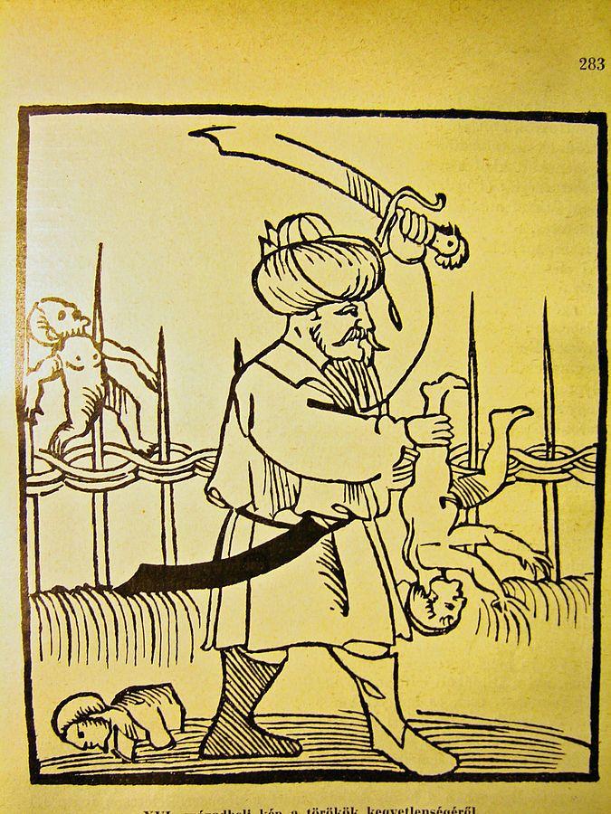 Hungarian Depiction of Turks butchering Childrej