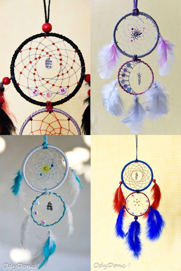 Attrape r ves dreamcatcher fait main personnalisable taille et couleurs 2 cercles 8 5 5 cm - Attrape reve fait main ...