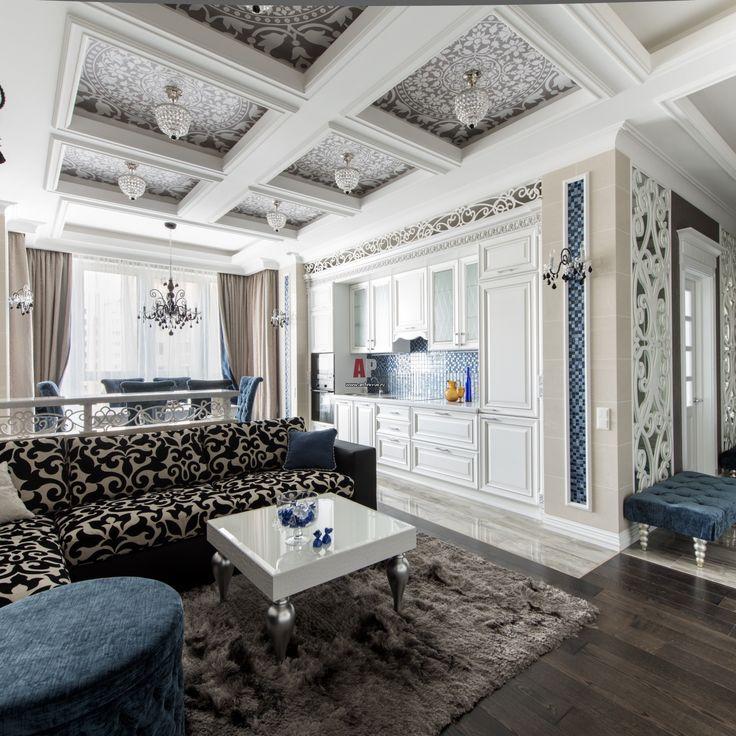 Светлая квартира для молодого человека в стиле современная классика