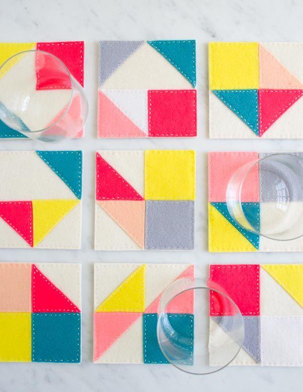 Modular Felt Coasters | The Purl Bee