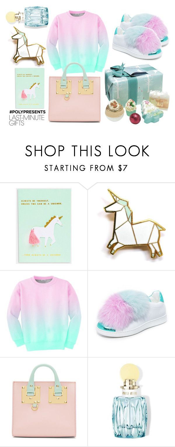 """""""#PolyPresents: Last-Minute Gifts"""" by caterinabi ❤ liked on Polyvore featuring Hug a Porcupine, Aloha From Deer, Joshua's, Sophie Hulme, Miu Miu, Bomb Cosmetics, unicorn, contestentry and polyPresents"""
