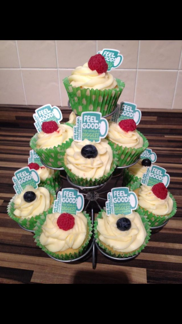Raspberry & Blueberry cupcakes for Macmillan coffee morning