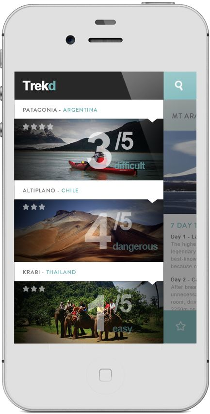 App   Trekd Concept by Thomas Le Corre, via Behance #trek #app #concept #deisgn #ui #mobile
