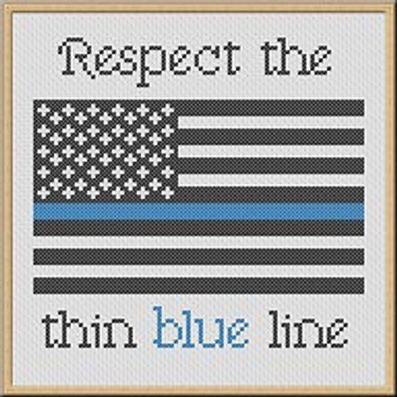 Thin Blue Line Cross Stitch Pattern Pdf Respect Our Police Etsy Cross Stitch Cross Stitch Embroidery Cross Stitch Patterns