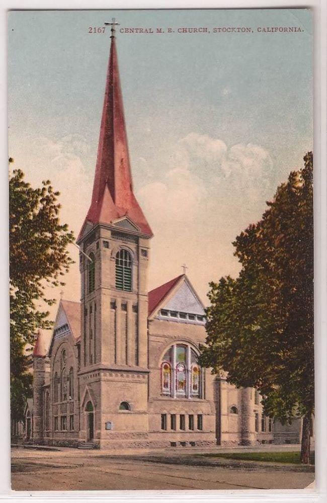 """1910s Stockton California Postcard """"Central M.E. Church"""" Street View DB Unused"""