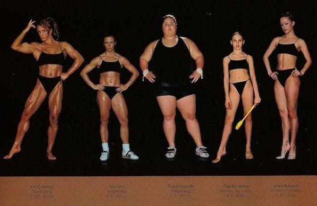 Dyscypliny sportowe uprawiane przez sfotografowanych wyczynowców, od lewej: kulturystyka, podnoszenie ciężarów, podnoszenie ciężarów, gimnas...