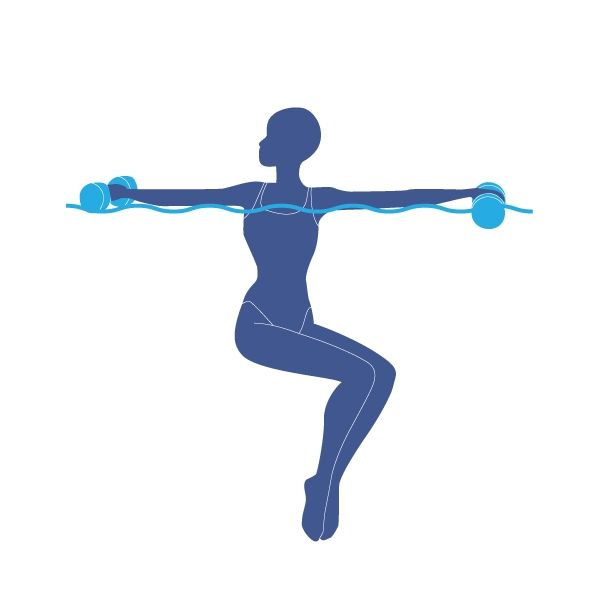 """Exercice dans la piscine le twist Le """"twist"""" Pour faire le """"Twist"""", avec une nouille de piscine sous les bras ou des haltères en mousse dans les mains, immergez-vous dans l'eau jusqu'aux épaules. Soulevez vos jambes à 90 degrés comme si vous étiez assis sur une chaise puis amenez vos jambes vers la gauche puis vers la droite. - The """"Twist"""" Lift your legs at 90 degrees, as if you were sitting in a chair, then move your legs leftwards and rightwards."""