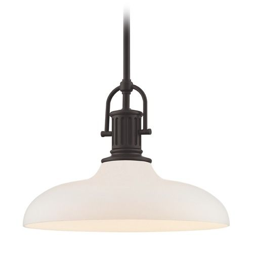 Industrial Bronze Pendant Light with White Glass 14-Inch Wide | 1764-220 G1784-WH | Destination Lighting