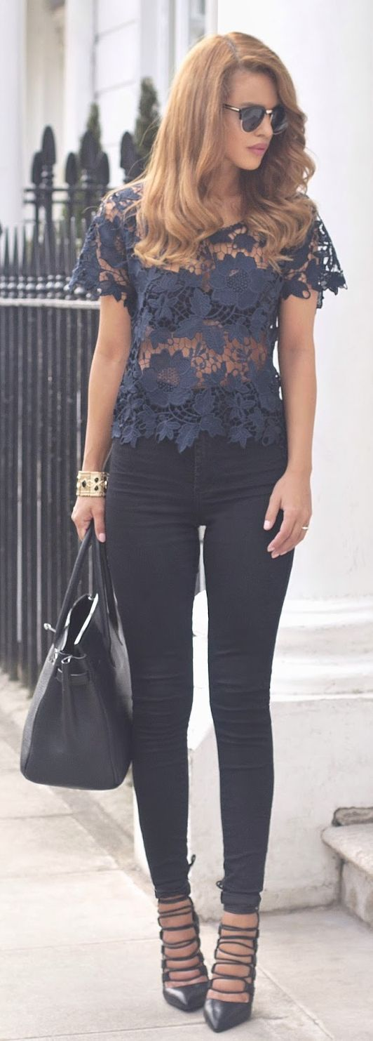 Navy Sheer Crochet Top by Nada Adellè